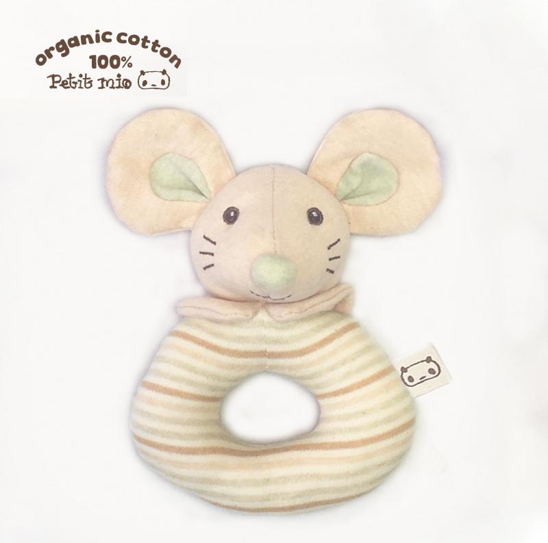 Petitmio - 100%有機棉安撫手搖鈴 (開心鼠)