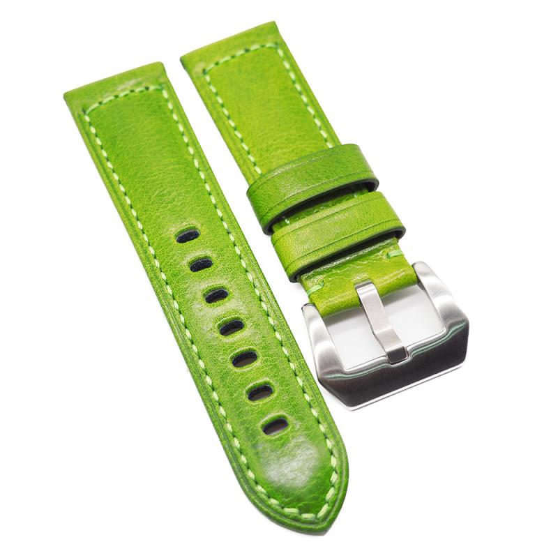 24mm Panerai 帕拉基多綠色牛皮代用錶帶