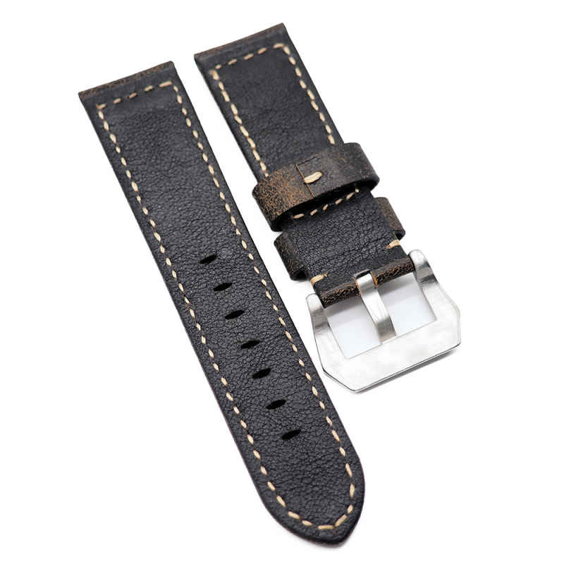 24mm Panerai 棕色樹皮紋牛皮代用錶帶