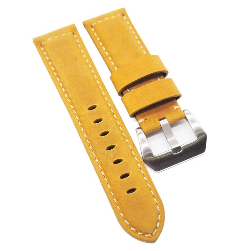 24mm Panerai 黃薑色牛皮代用錶帶