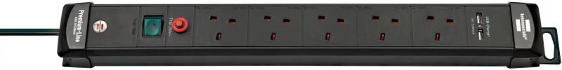 brennenstuhl 五位帶燈雙USB開關拖板(有可復原過載跳掣)(3米, 黑色) 1951153600 (62-19-3610)