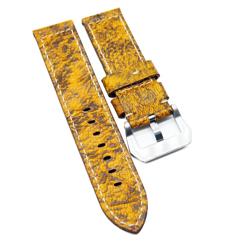 24mm 黃薑色雲石紋牛皮錶帶