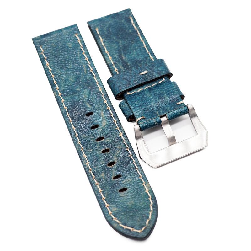26mm 藍殼色雲石紋牛皮錶帶