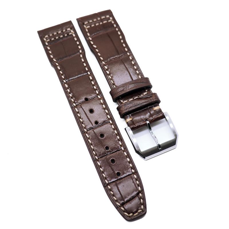 21mm IWC 棕啡鱷魚紋牛皮錶帶配白車線