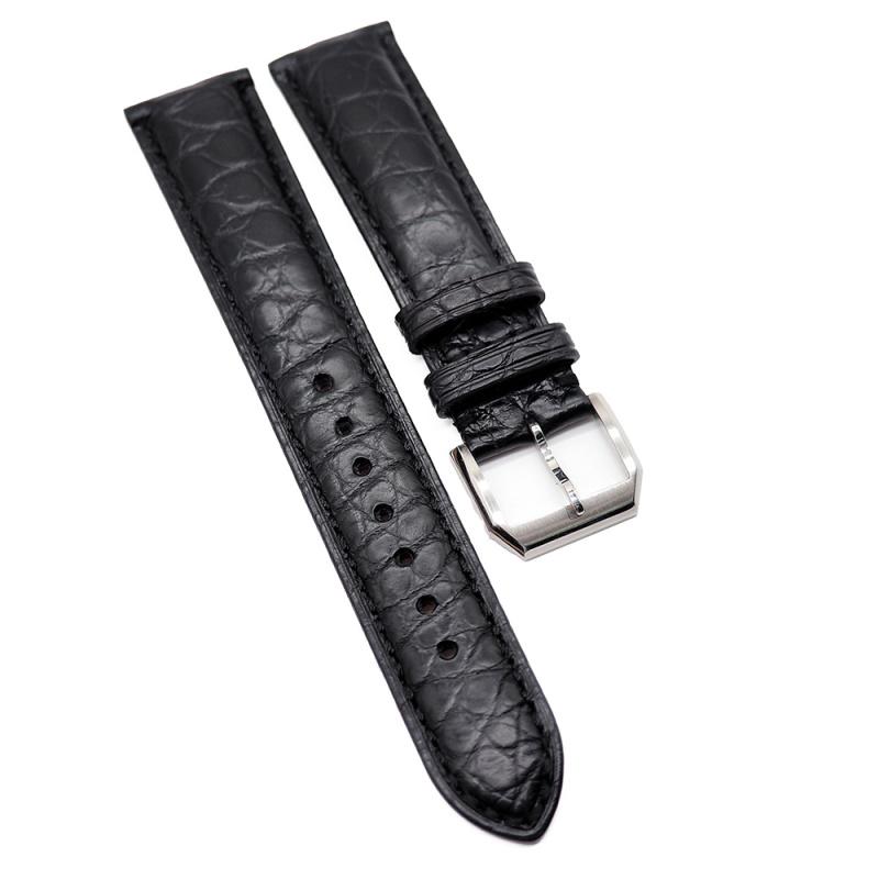 20mm 黑色優質鱷魚皮錶帶