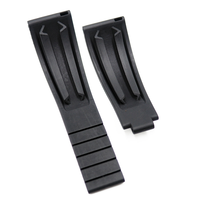 20mm Rolex 黑色 / 藍線 平頭代用膠帶