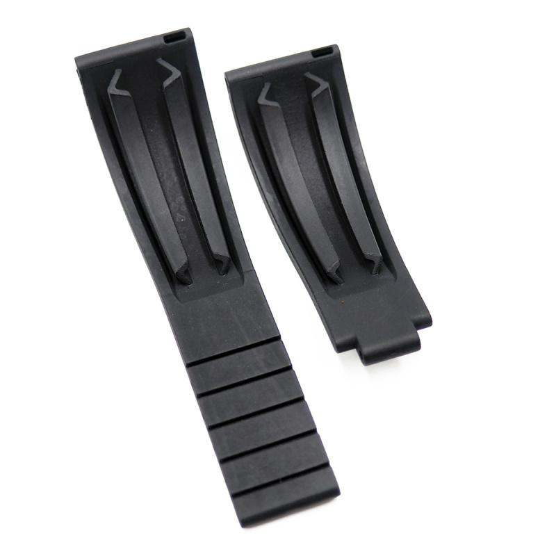 20mm Rolex 黑色 / 白線 平頭代用膠帶
