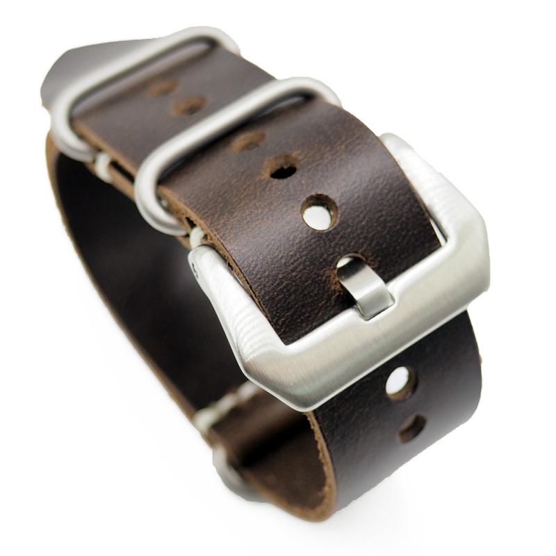 24mm 啡棕色牛皮 Nato 錶帶