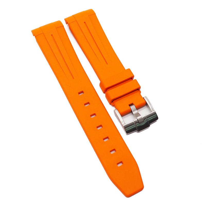 20mm 優質 Rolex 橙色彎頭代用橡膠錶帶