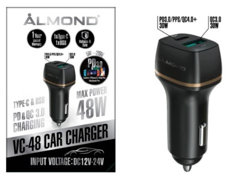 Almond PD Fast Car Charger 快速車充 VC-48