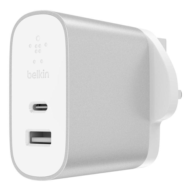 Belkin BOOST↑CHARGE 27 瓦特 USB-C + 12 瓦特 USB-A 家用充電器 F7U061my-SLV