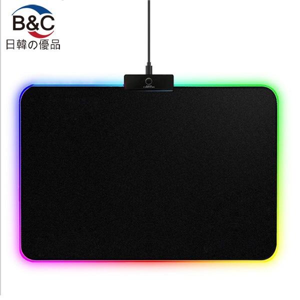 韓國B&C 幻彩Led大號發光鼠標墊 RGB大號桌墊LOL電競遊戲鍵盤鼠標墊