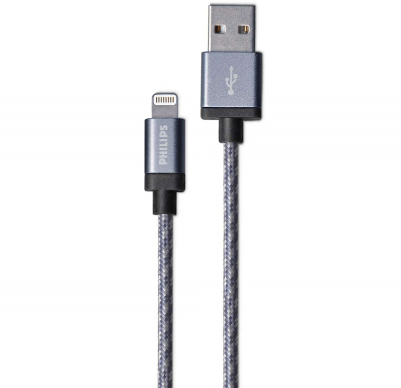 Philips 飛利浦 - 蘋果MFi認証 Lightning充電線 1.2米 銀色編織線 DLC2508N/97 Charge and Sync 平行進口貨品