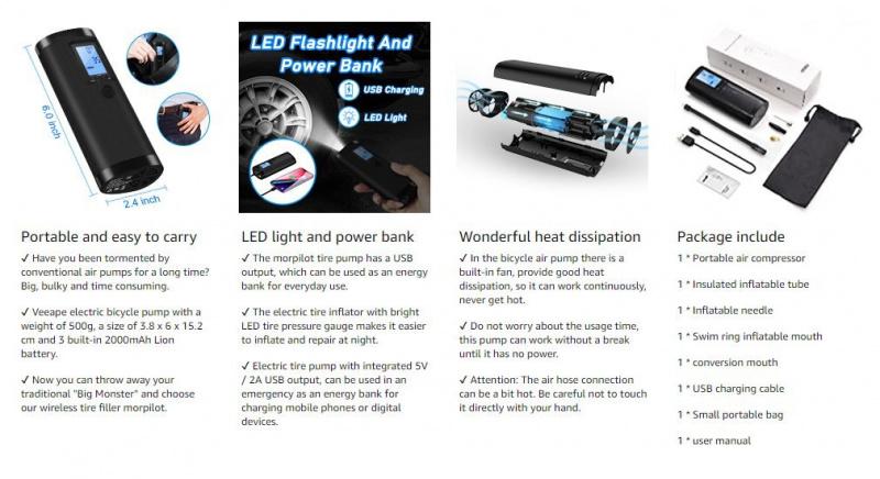無線便攜式汽車單車充氣泵 120PSI帶壓力表 散熱記憶功能 [黑色]