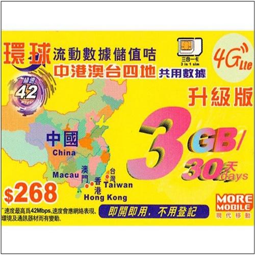 中國 香港 澳門 台灣四地共用30日4G 3GB上網卡