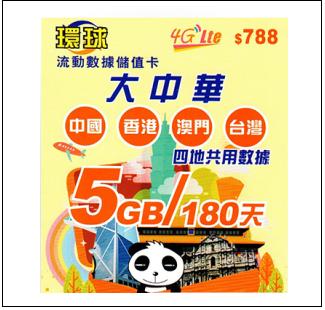 大中華 中國 香港 澳門 台灣180日4G 5GB上網卡