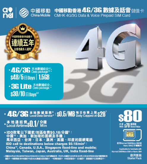 中國移動$80 4G/3G储值卡 上網卡