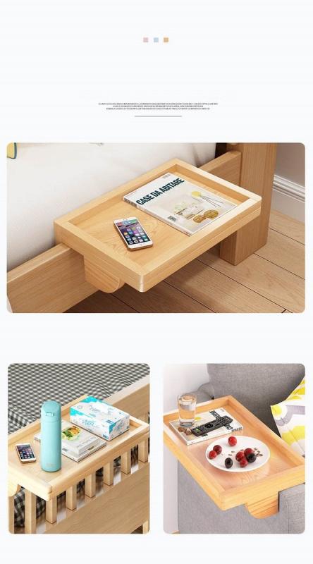 床頭小木架 安放 書 報紙 手機 眼鏡 早餐等等 松木色