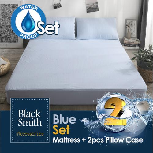 Black Smith (藍色優惠套裝)(第2代)高透氣防水床笠+(2件裝)枕頭套套裝 (單人/雙人/雙人加大/加大/特大)