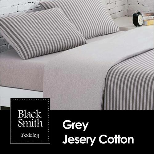 Black Smith 100% 針織全綿床品套裝 (灰色) [4尺寸]