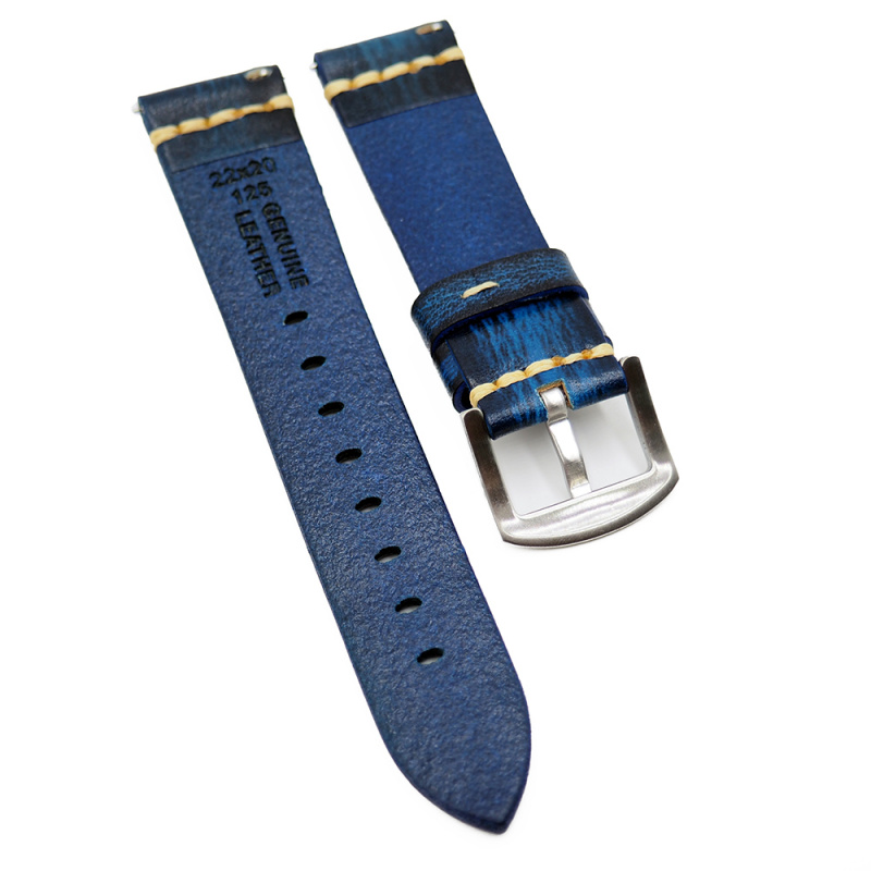 18mm, 22mm 擦染色復古牛皮錶帶, 快拆生耳, 藍色 / 綠色 / 灰黑色