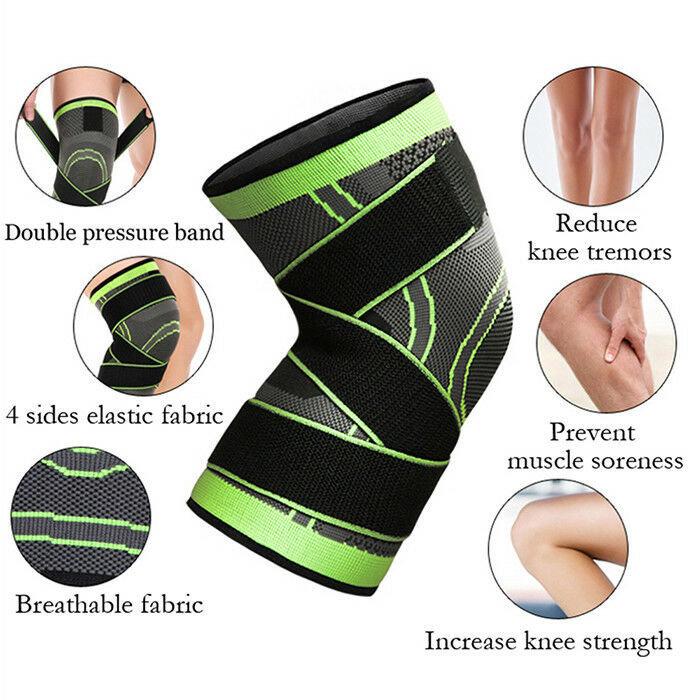 專業跑步繃帶式加壓針織護膝套 [一對] 綠色