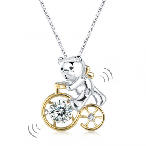 Niomi Jewellery 日本專利設計 趣緻單車熊 跳動懸浮 925純銀頸鏈