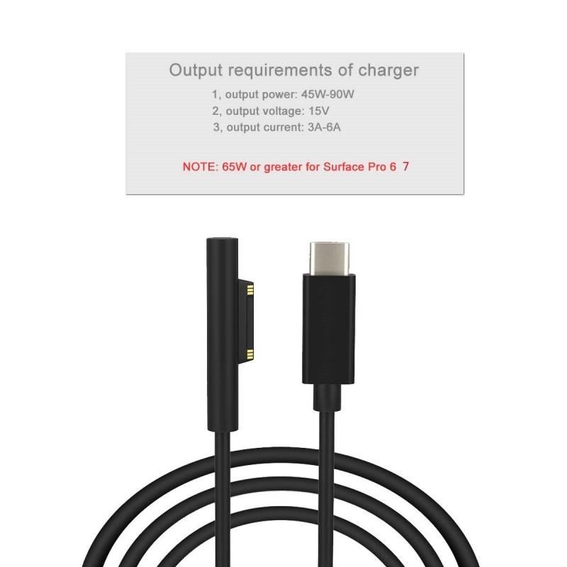 Surface Connect USB-C充電線1.8M 適用於Microsoft Surface 7 6 5 4 3 15V 3A USB-C(必須 PD充電器)