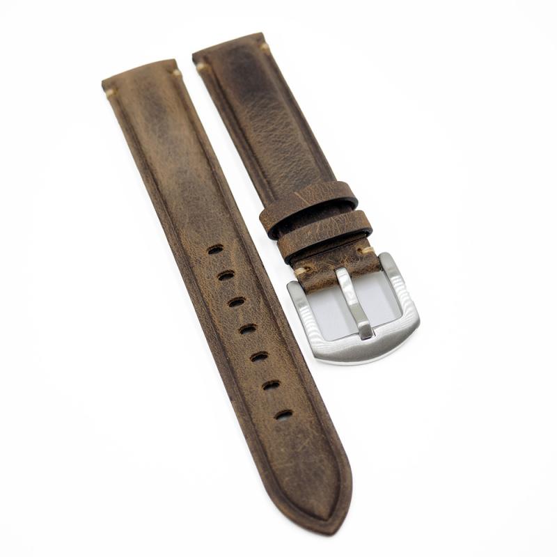 19mm, 21mm 法色咖啡色磨砂牛皮復古錶帶