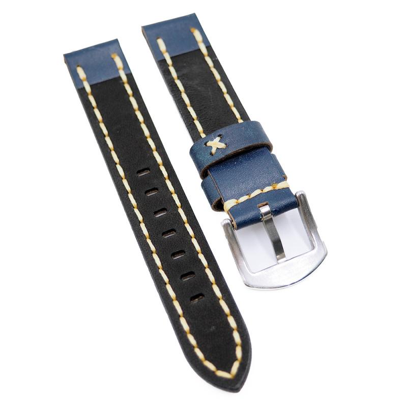 18mm 深藍色牛皮錶帶, 粗米黃色油蠟線