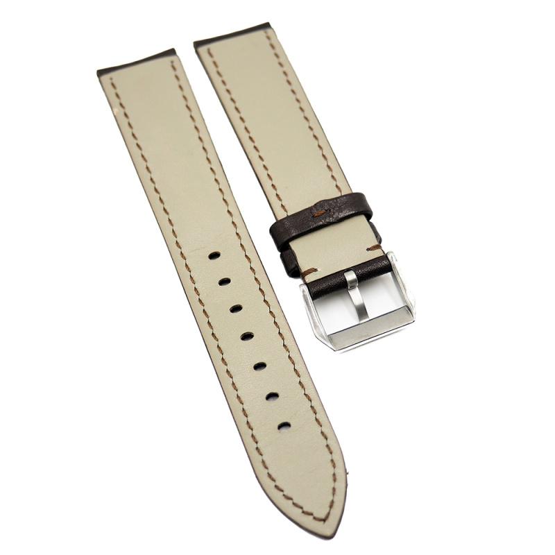 20mm 巧克力色牛皮錶帶, 原色車線