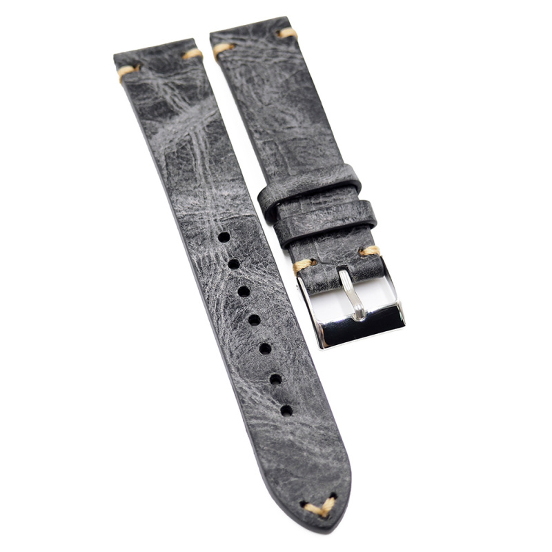 18mm, 20mm, 22mm 灰色雲石紋牛皮復古錶帶, 米黃色油蠟線