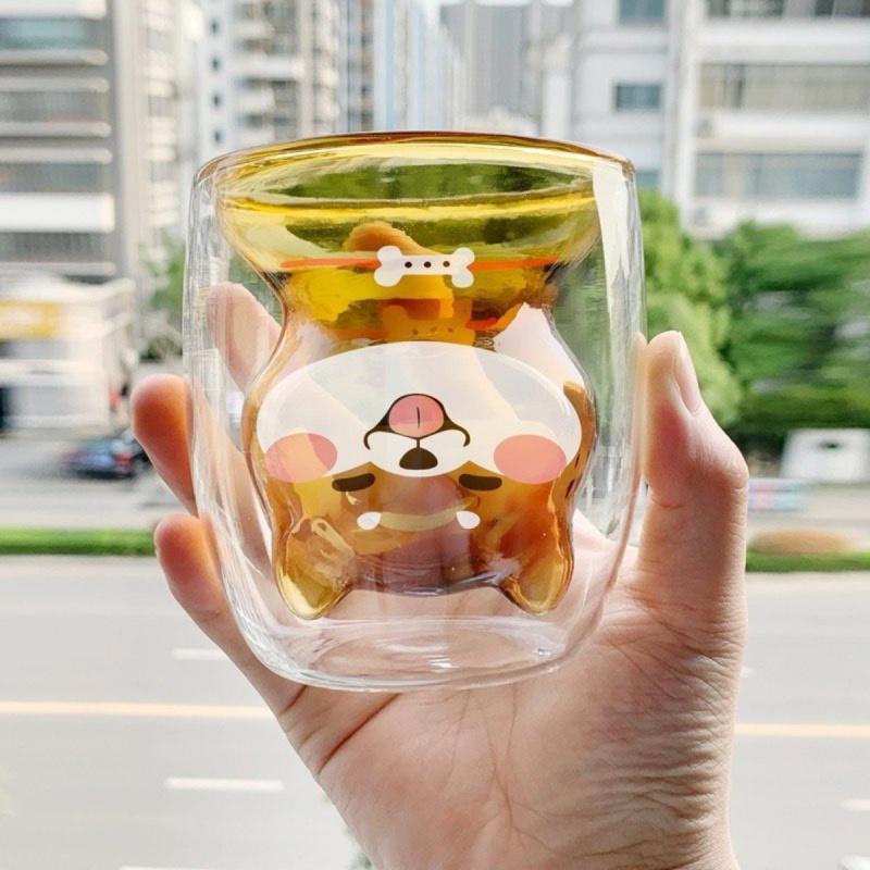 可愛柴犬雙層玻璃杯 鮮奶 果汁 咖啡 等等 狗狗愛好者 日本直送