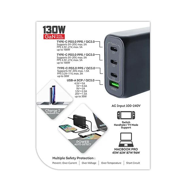 Magic-Pro ProMini Gs140 GaN 氮化鎵 3 PD + QC3.0 140W GaN桌面式快速充電器