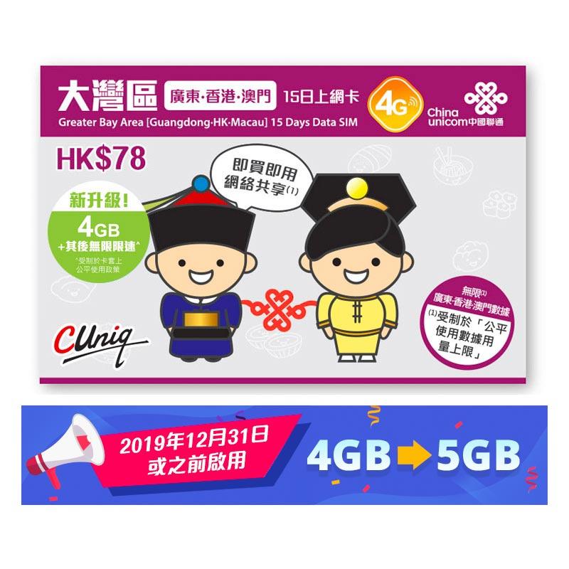 中國聯通 廣東及香港及澳門 15日 4G數據卡