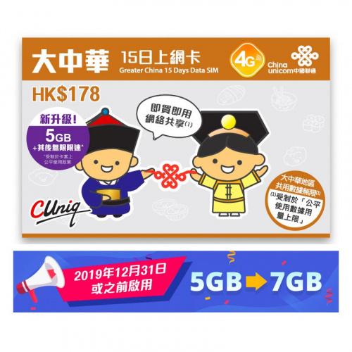 中國聯通-4G 15日中國內地各省,香港,台灣及澳門無限數據卡上網卡sim卡 - 到期日30/11/2021