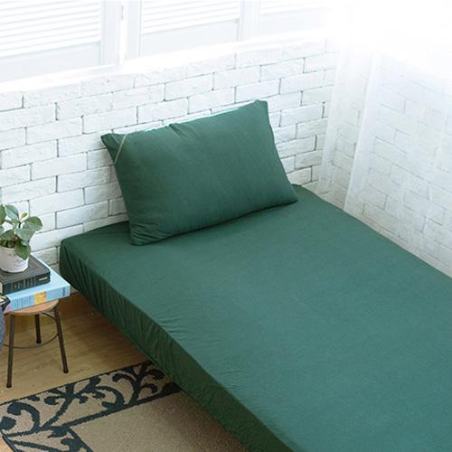 Dear 優綿生活 精選澳洲棉針織床笠+枕袋 森林綠 [4尺寸]