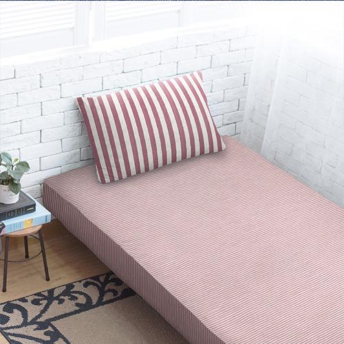 Dear 優綿生活 精選澳洲棉針織床笠+枕袋 玫瑰棗紅條紋 [4尺寸]