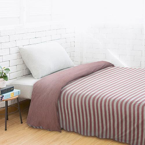 Dear 優綿生活 精選澳洲棉針織被袋 玫瑰棗紅條紋 [3尺寸]