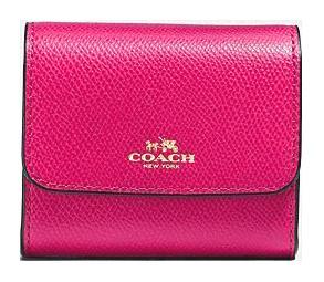 Coach F54843 皮革女裝摺叠鈕扣錢包 [2色]
