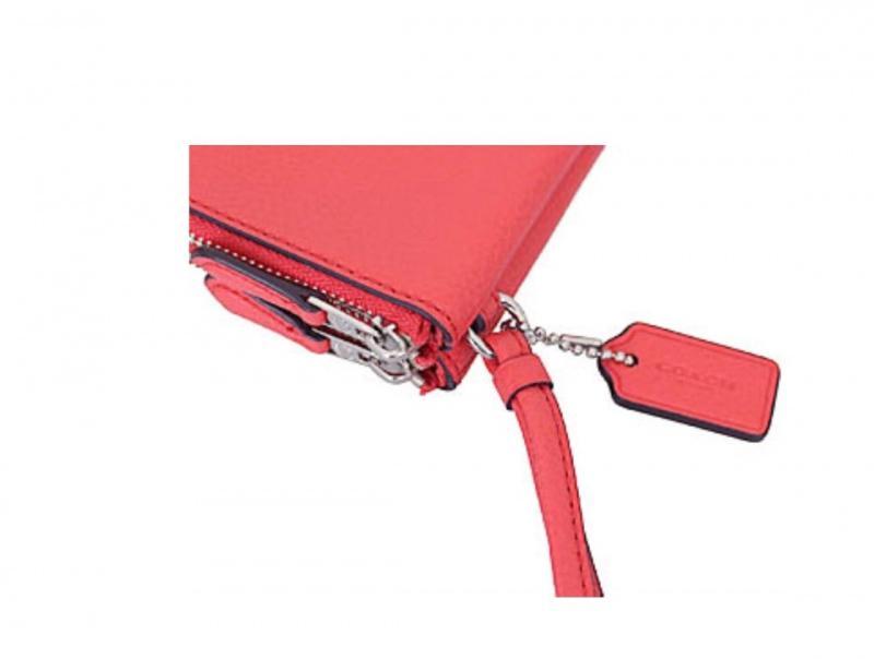 Coach F87590 L型雙拉鏈皮革手拿包