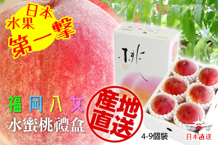 日本產地直送福岡八女水蜜桃禮盒裝一箱 (約 1 kg) (約 4-9 個)「6月8批次」