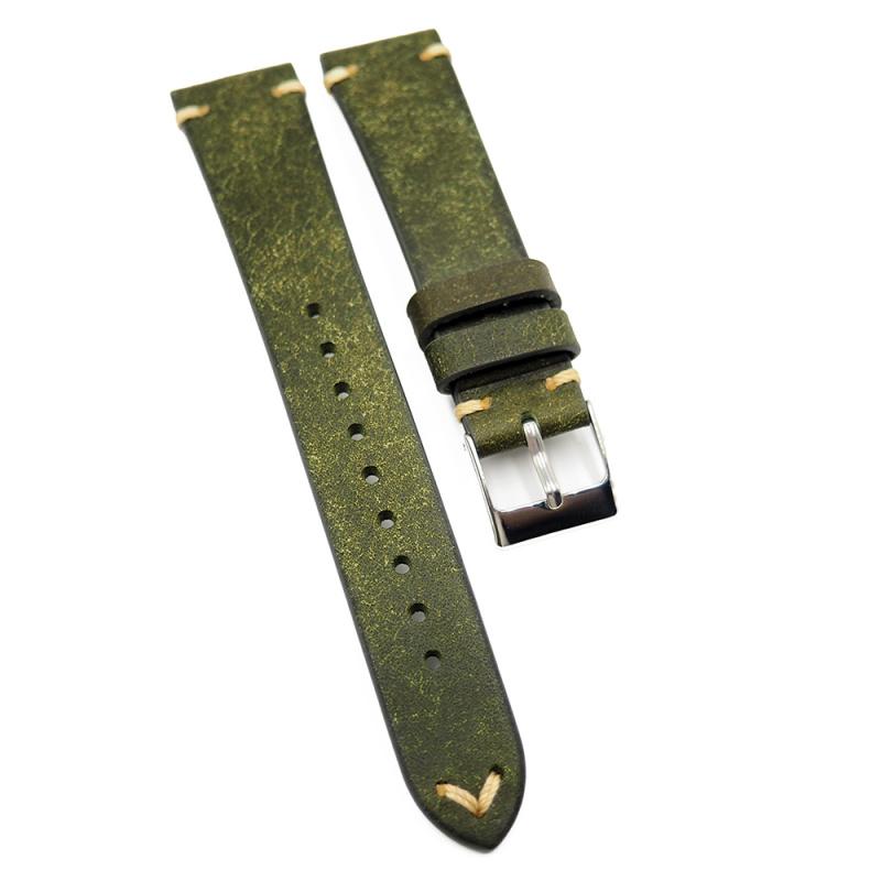 19mm 高級 Pueblo 牛皮復古錶帶, 赤紅色 / 橄欖綠色 / 青藍色