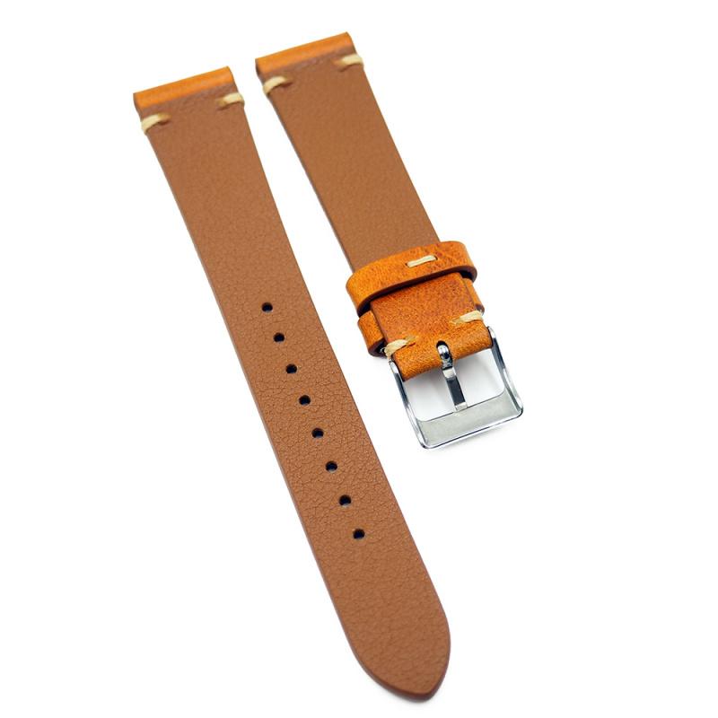 19mm 牛皮復古錶帶, 橙色 / 綠色