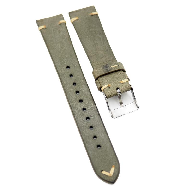 18mm, 19mm 灰綠色牛皮復古錶帶, 油邊款