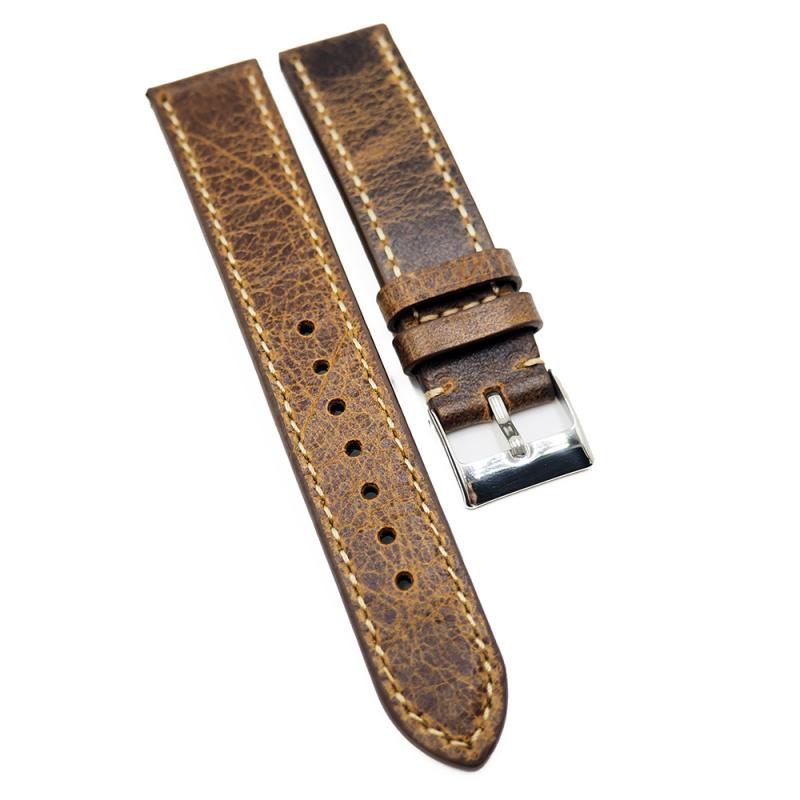 18mm, 19mm, 21mm 棕黃色爆裂紋牛皮錶帶