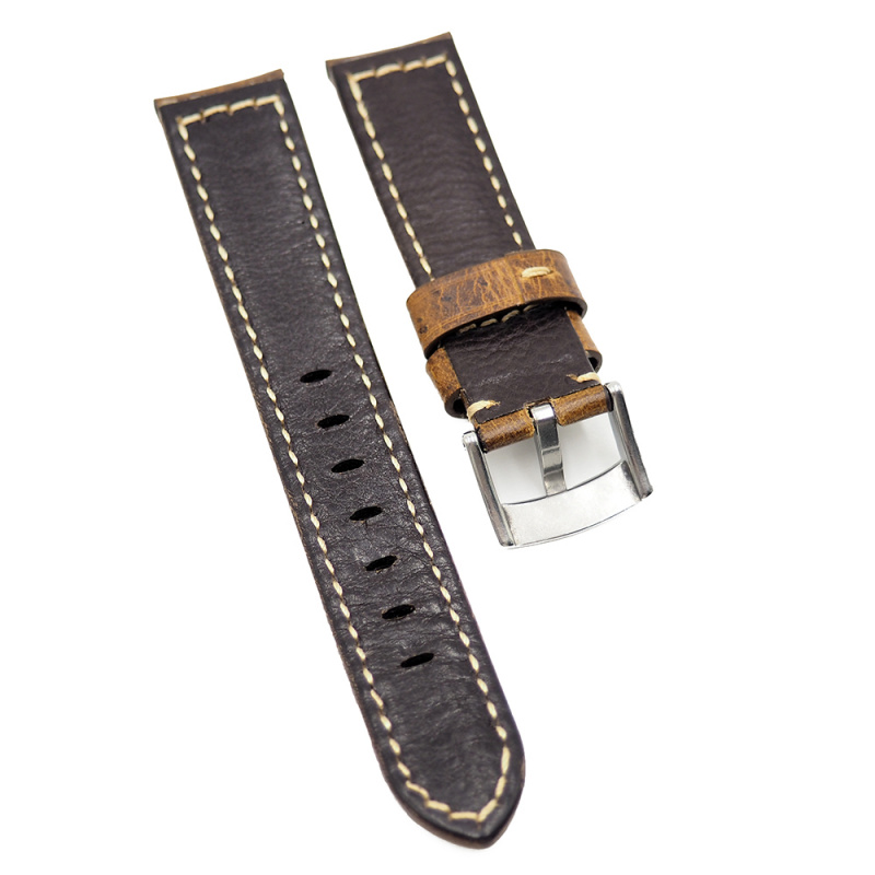 20mm, 22mm 棕黃色牛皮錶帶, 漸厚款, 合適 Panerai 等等