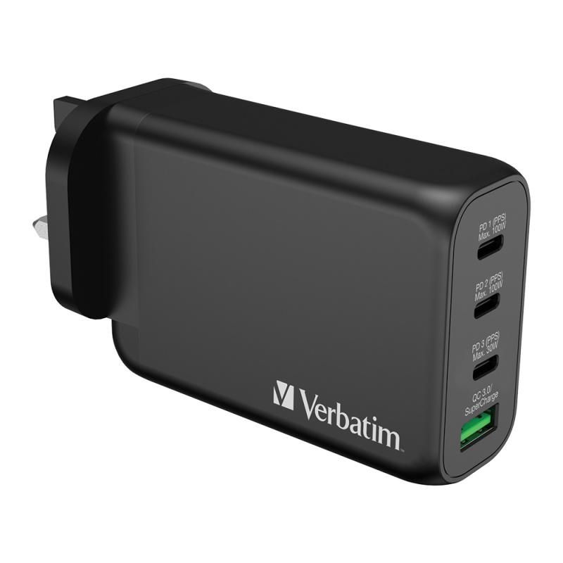 Verbatim 4 Port 130W PD 3.0 & QC 3.0 GaN USB充電器(66634)