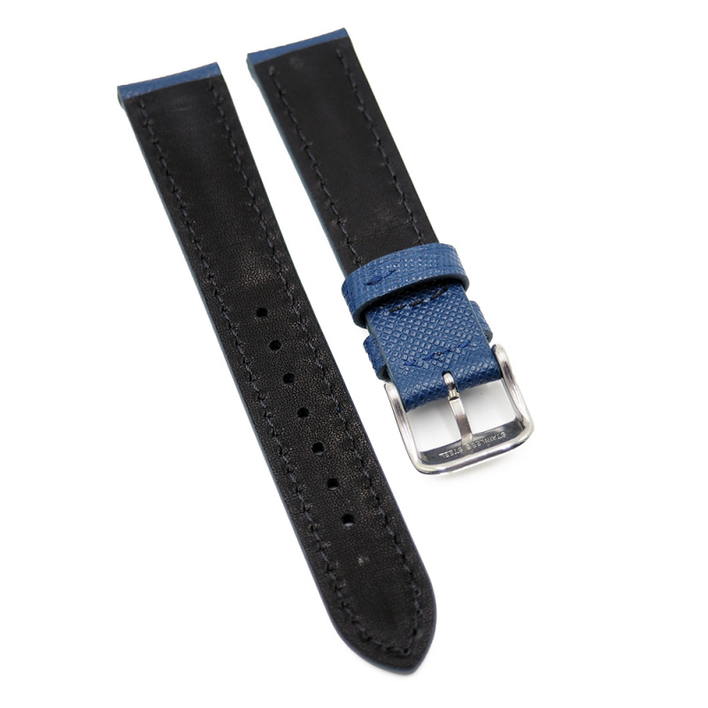 18mm 十字紋牛皮錶帶, 黑色 / 藍色 / 灰色