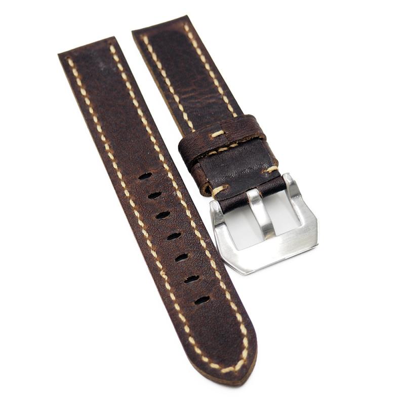 20mm, 22mm 意大利棕啡色牛皮錶帶, 切邊款